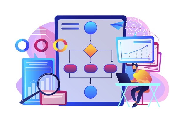 analyst working laptop with automation process business process automation business process workflow automated business system concept 335657 400 1