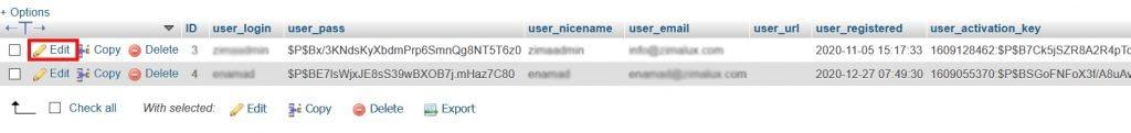 wp users in phpmyadmin