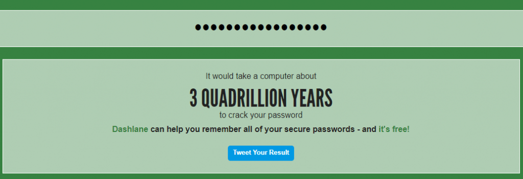 strong password result