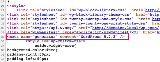 wp version default
